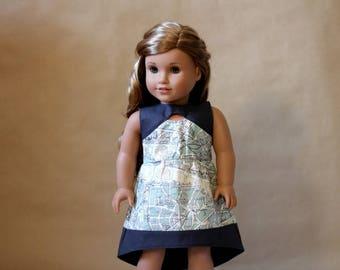 """Hi-Lo Keyhole Dress Paris Map 18"""" Doll Clothes"""