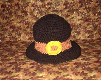 Crochet thanksgiving pilgrim hat, thanksgiving baby photo outfit, 1st thanksgving outfits
