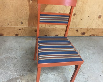 Reclaimed Mid Century Stakmore Folding Chair Repainted Cinnamon And  Reupholstered Striped Fabric