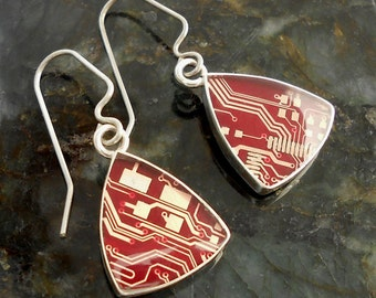 Sterling Silver Drop Earrings with Crimson Red Circuit Board