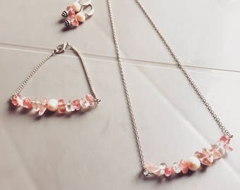 Necklace, earrings, bracelet, delicate jewelry set, gift for her, girl jewelry, pink jewelry, princess, gift for girl, gift for teenage
