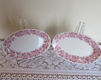 """Jackson China Restaurant Ware Luncheon Plates w Red Trim 8 1/2"""" by 6"""" Vintage"""