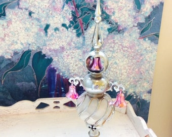 Vintage Christmas Tree Topper, Bradford Plastic Carillon Spire, Angel Hair Ornaments