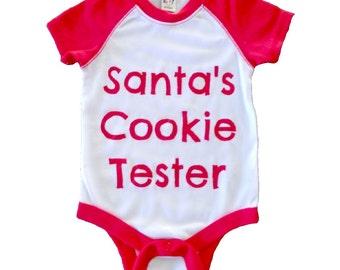 Santa's Cookie Tester, Baby Christmas Bodysuit