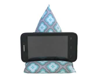 "7 1/2"" X 4 1/2"" Cell Phone Stand,  Mobile Phone Cushion, Fabric Smartphone Holder, Triangle Phone Pillow, Prop for Cell Phone"