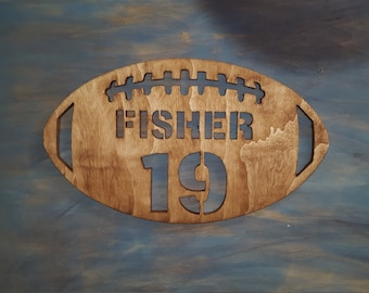 Personalized Wooden Football Sign with Name and Number