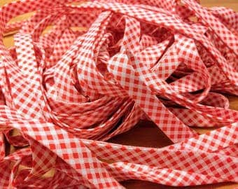"""Red and White Gingham Bias Tape - 3 yards, 1/2"""" wide"""
