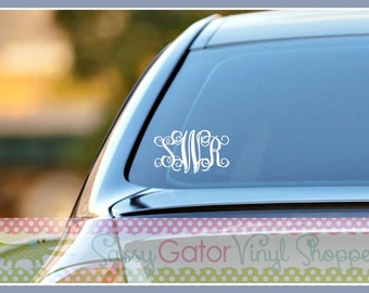 Monogram Vinyl Decal, Monogram Decal-Adhesive Decal-Vinyl Decal-Vinyl Monogram-Monogram-Car Decal-Windshield Decal-Monogram Rear Windshield