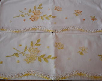 Vintage Pillowcase Pair, Hand Embroidery - Yellow Flowers with Crochet Trim