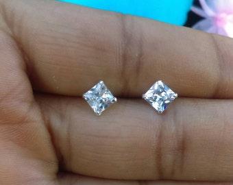 Tiny Diamond Square Studs, Single or Pair, Tiny Studs, Sterling Silver Studs, Tiny Earrings, Minimalist Studs, Square Shaped Studs