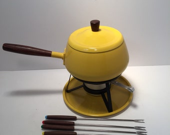 Mid Century yellow fondue set with forks