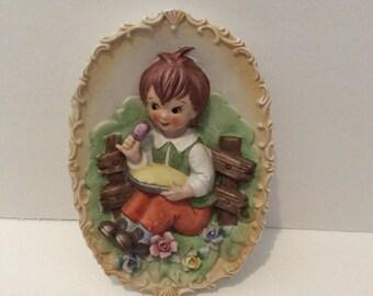 Vintage Chalkware Little Jack Horner Plaque 6652