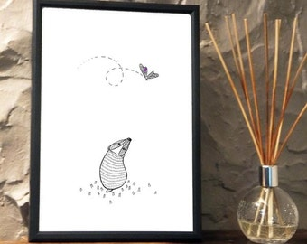 Quirky Badger watching a butterfly Print from an original art Illustration ART006P