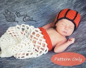 PATTERN ONLY Crochet Baby Basketball Net Cocoon Photography Photo Prop, PDF Digital Download, Crochet Pattern, Newborn Basketball Set