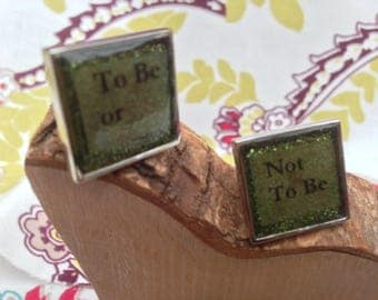 "Hand Cast Cufflinks ""To Be or Not To Be set in Cast Resin"