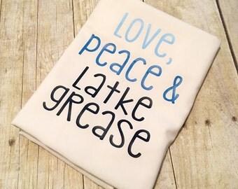 Love Peace Latke Grease Flour Sack Towel | Chanukah Towel | Hanukkah Towel | Hanukah Towel | Decorations | Chrismukkah | Holiday Gift