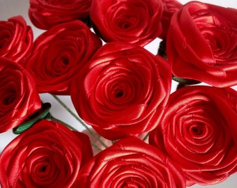 Red rose flower bouquet, Flower bouquet, Satin roses, mothers day gifts, mothers day ideas