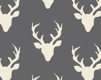 Hello, Bear - Buck Forest Fabric - Moonstone - Sold by the 1/2 Yard