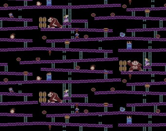 Nintendo Donkey Kong Jumpman's Ascent Fabric - Black (sold by the 1/2 yard)