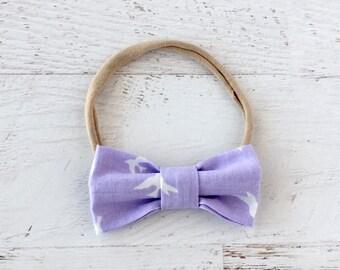 Baby Headband-Bow Headband-Purple and White-Birds-Nylon-Fabric Bow-Modern-One Size