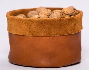 Rustic Style Storage Leather Basket / Decorative Hide Basket / Storage Bag / House Wee Belongings Box / Room Organizing Box