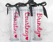 16 Custom skinny cup set, personalized cups, bridal shower gift, wedding gift, wedding cups, bridesmaids gift, Bachelorette gift, Bride gift