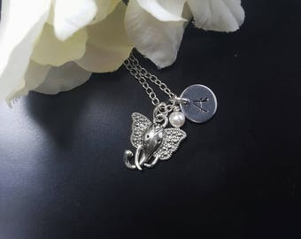 Elephant Charm Necklace, Silver Elephant Fashion Jewelry, Hand Stamped Initial Necklaces, Personalized Gifts For Women, Elephant Totem Charm
