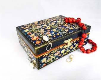 Jewelry box - Wooden Jewelry Box -  Ukrainian folk art gift -  vintage Jewelry box - vintage box  -  home decor - gift for her