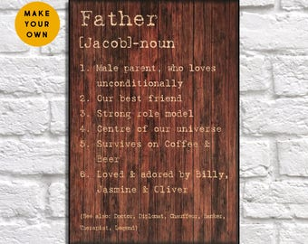Fathers day gift from daughter Wood art Daddy and son gift Personalized Dad gift from Kids Father gift for Fathers day Panel effect wood art