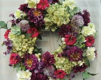 BEAUTIFUL SPRING WREATH, Hydrangea wreath, Door Wreath, Summer Wreath, Silk Floral Weath, Silk Wreath, Green and Plum Wreath, Country Wreath