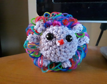 Rainbow Hedgehog plush/Loomigurumi/ rainbowloom.