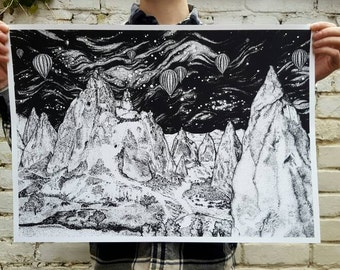 Mountain Landscape, Black and White Screen Print