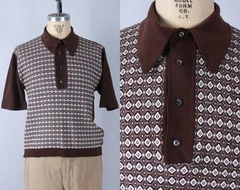 "Vintage 1950s Men's Shirt | 50s 60s ""Ban-Lon"" Geometric Brown & White Polo Shirt | Extra Large"