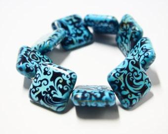 Painted Blue Square Stone Tile Bracelet