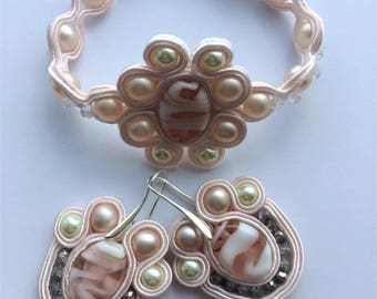 Pink and White Soutache Bracelet and Earrings set