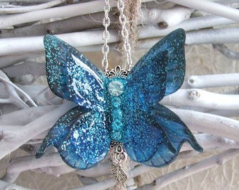 Blue Wings fantasy necklace
