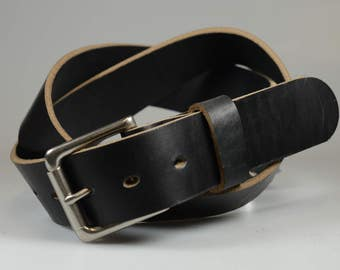 Handmade Daniel Belt in Black Horween Chromexcel