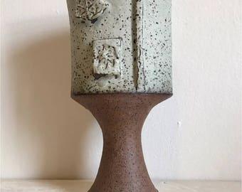 Vintage Mid Century Studio Art Pottery Vase by Louis Mendez, MCM Stoneware Vase, Signed