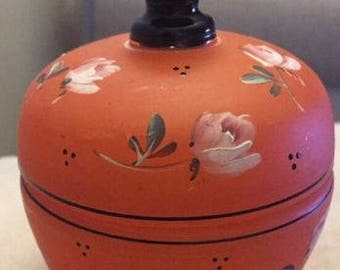 Vintage Glass Trinket Jar w/Lid- Hand Painted.  ID# 13-57