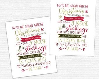 Twas the night before Christmas Digital Printable / digital Night before Christmas printable / Christmas Holiday print