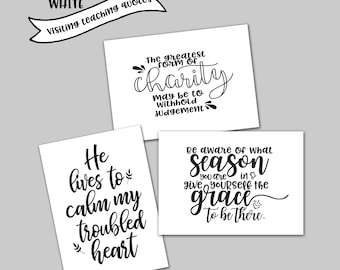 Visiting Teaching LDS quote pack / black and white visiting teaching quote cards / visiting teaching printables and handouts