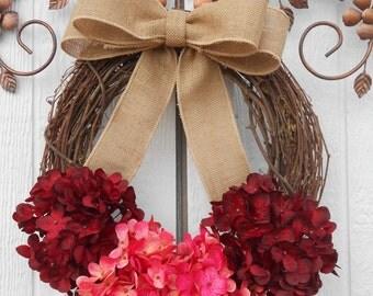 Valentine wreath, Valentine Gift, Hydrangea wreath, Grapevine wreath, Floral wreath, Spring wreath, Summer wreath, Everyday wreath, Fall