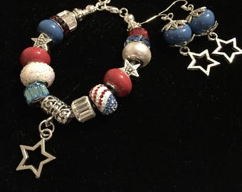 Patriotic Euro Charm Bracelet and matching earrings! Beautifully Handcrafted, great gift! Fourth of July, Memorial Day