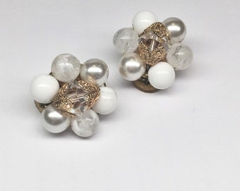 Vintage Bead Cluster Clip On Earrings - Faux Pearls - 1950s/1960s