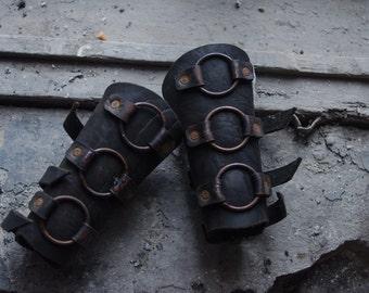 Black metal post apocalyptic bracers