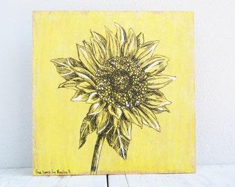 Botanical art print, Flower print, Home decor, Sunflower painting, Bedroom Decor, Rustic wall sign, Nature art, Wall art, Hipster room decor