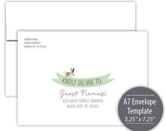 Woodland Friends A7 Envelope Template - Printable - Green --- #B330-IE1