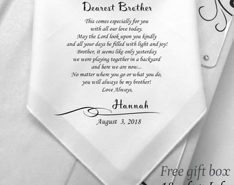 To My Brother Gifts On His Wedding Day-Wedding Handkerchief Gifts For Brother From Sister-Printed-Free Wedding Handkerchief Gift Box/HY:1152