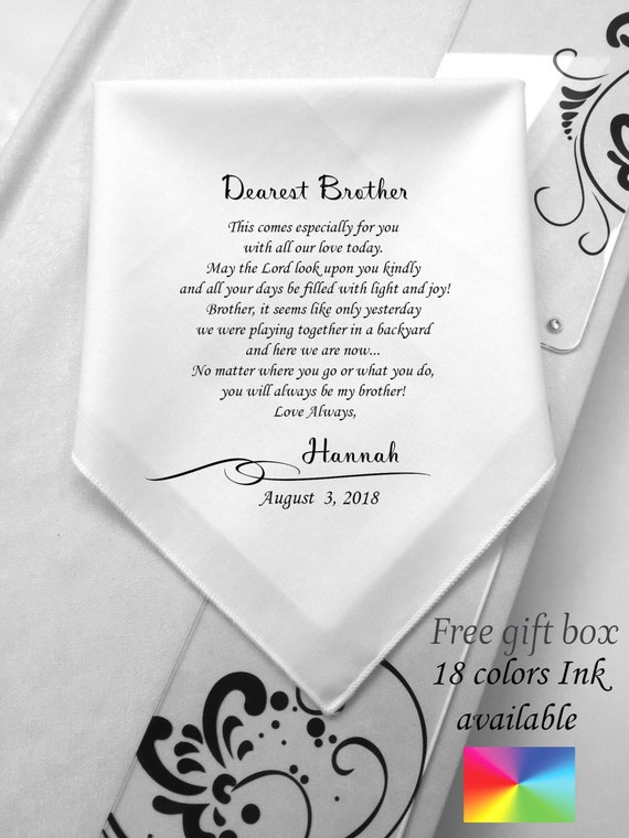 To My Brother Gifts On His Wedding Day-Wedding Handkerchief