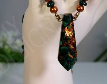 Malachite Collar Necklace and Earring Set